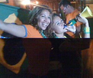 Brazilian and Dutch fans celebrate together after the Netherlands victory